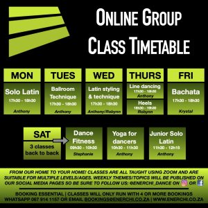 EnerchiDance Online Group Class Timetable 2020